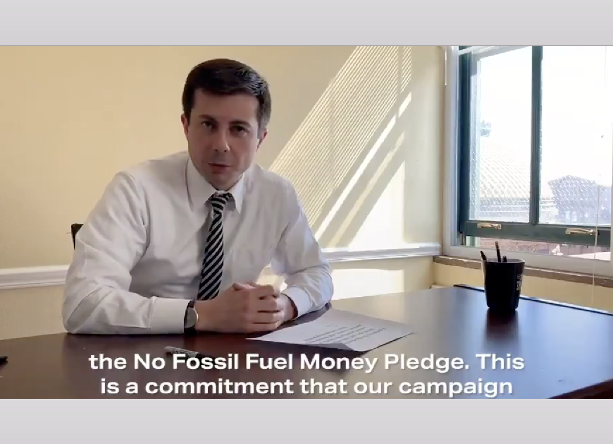 Response to Pete Buttigieg Signing the No Fossil Fuel Money Pledge
