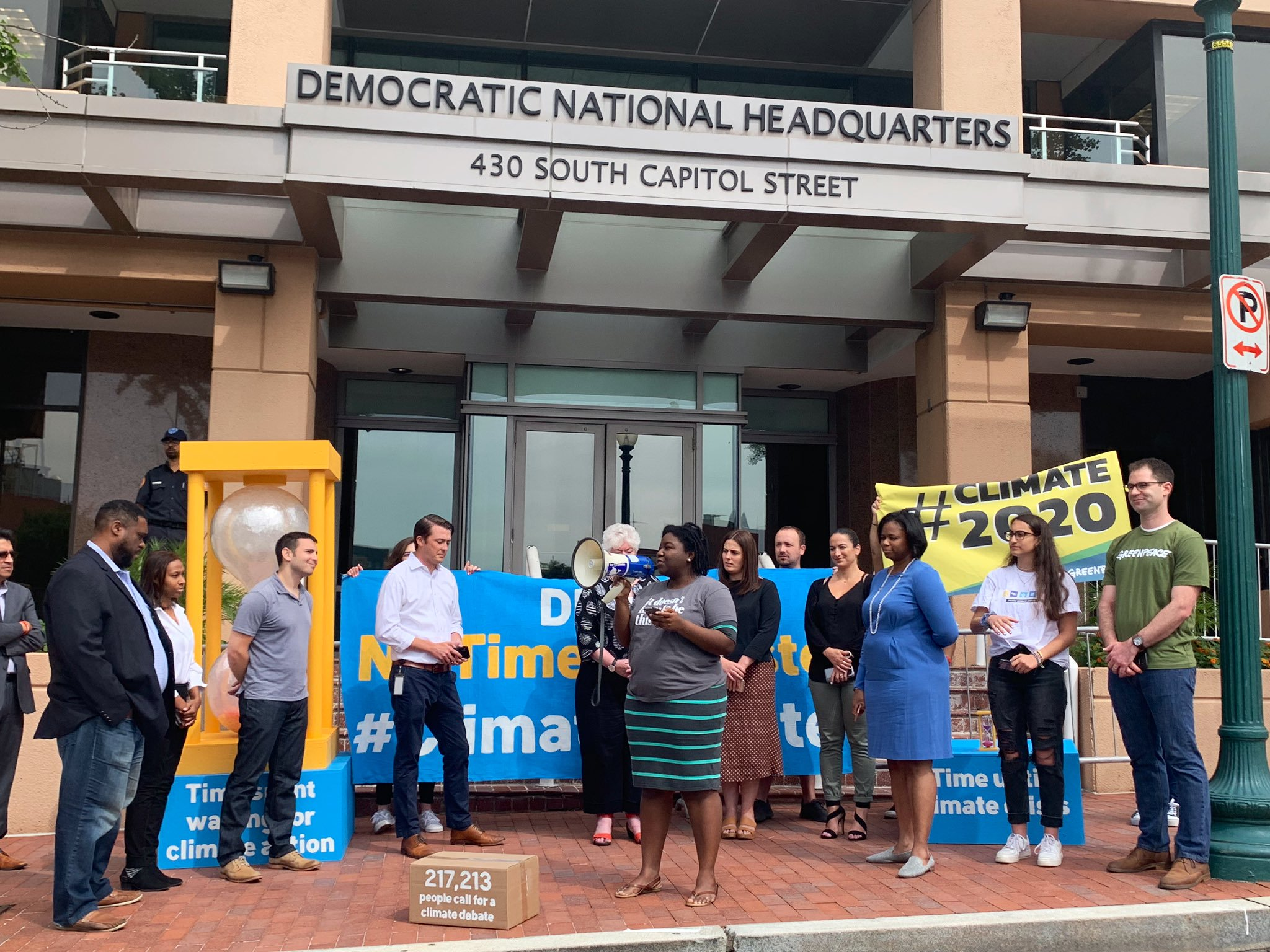 We Brought Our Call for a #ClimateDebate Right to DNC Headquarters