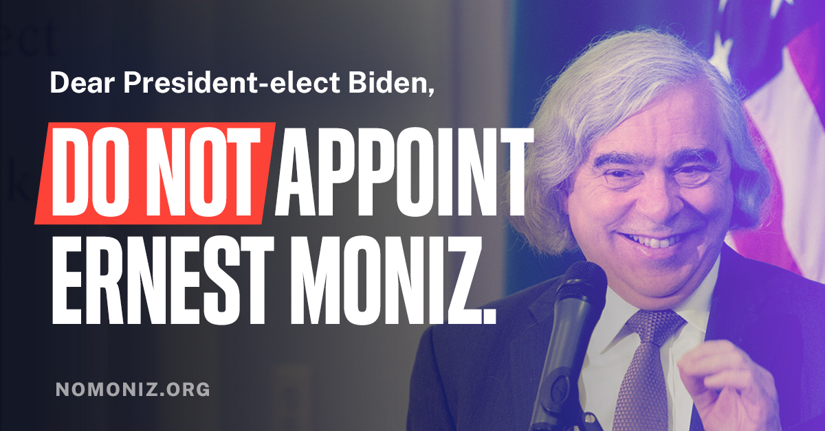 Opposition to Ernie Moniz and Fossil Fuel Appointments Intensifies